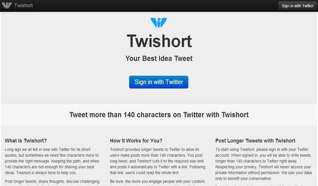 Twishort, servicio online para enviar tweets con más de 140 caracteres