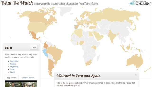 What We Watch What We Watch, mapa con los vídeos de YouTube populares en cada país