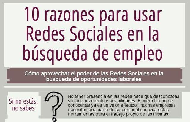 086e1b4104 Infografía con 10 razones para buscar empleo en las redes sociales