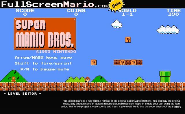 Full Screen Mario, juego de Super Mario Bros creado en HTML5