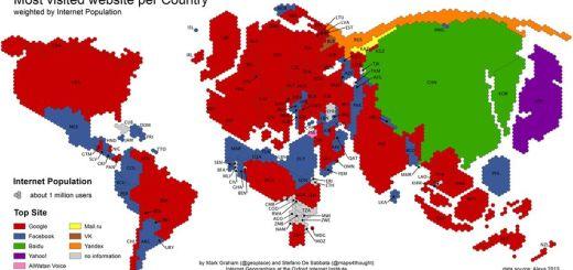 Las páginas más visitadas en cada país localizadas en un mapa