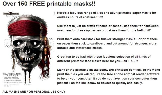 Squidoo Coleccion De 150 Mascaras De Halloween Para Imprimir