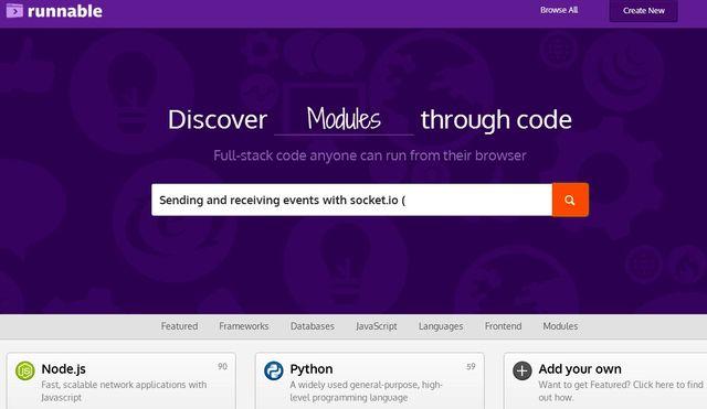 Runnable Runnable, buscador de código en múltiples lenguajes de programación