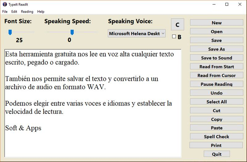 TypeIt Readit texto a voz y audio TypeIt Readit: software gratis que nos lee y graba los textos a audio