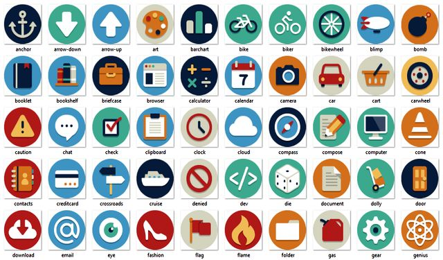 Beautiful Flat Icons Beautiful Flat Icons, 132 iconos planos gratuitos en varios formatos