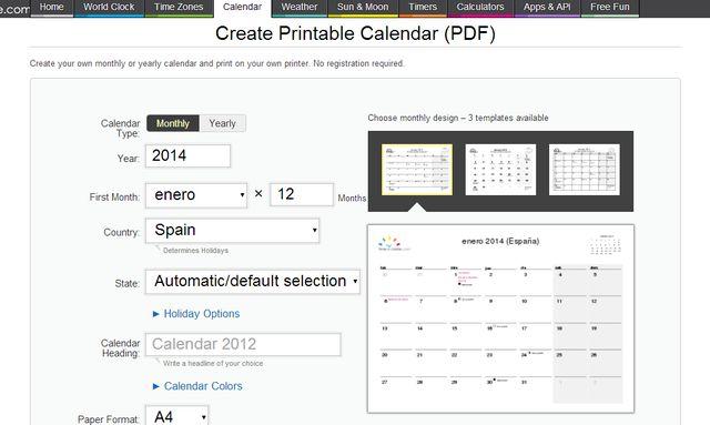 Crea tu calendario 2014 y descárgalo en PDF para imprimir