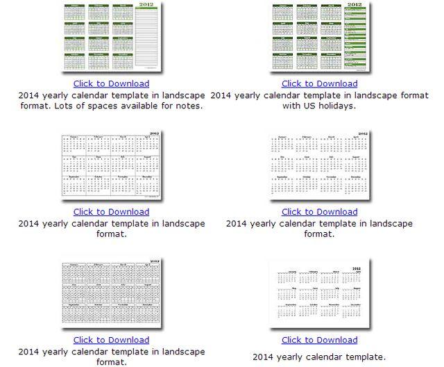 Calendarios 2014 en formato mensual o anual para descarga e impresión