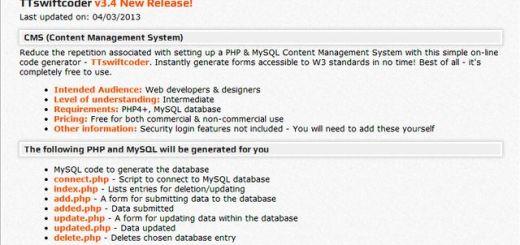 PHP & MySQL generator, crea bases de datos MySQL y genera los PHP