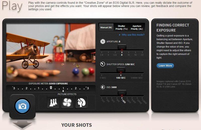Simulador fotográfico de Canon