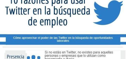 Infografía con 10 razones para usar Twitter en la búsqueda de empleo