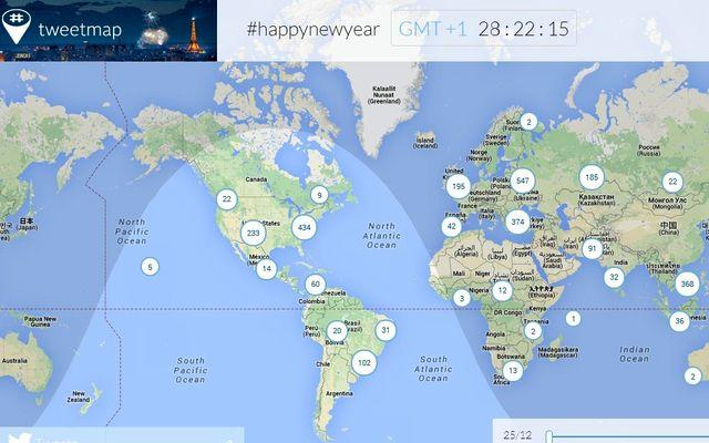 Happynewyear, mapa mundial con felicitaciones de año nuevo en Twitter