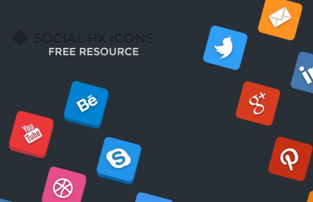 Social HX Icons, iconos sociales planos y 3D en formato PSD