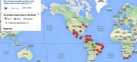 Mapa que geolocaliza las 50 ciudades más violentas del mundo