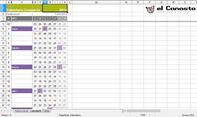 Calendario compacto 2014