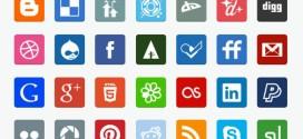 Free Flat Social Media Icons, set con 35 iconos sociales gratuitos