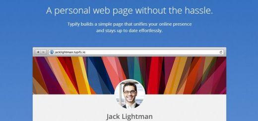 Typify, crea gratis una página personal sin escribir código