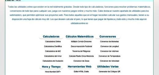 Utilidades Online: colección de aplicaciones web para conversión, cálculo, etc