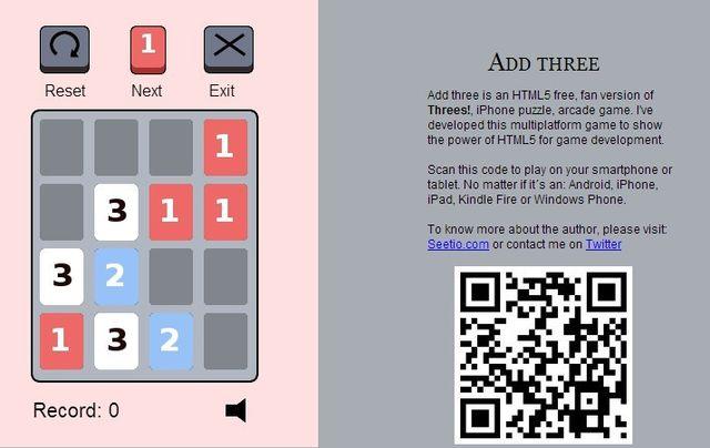 Add Three, versión HTML5 multiplataforma del popular juego Threes! de iPhone