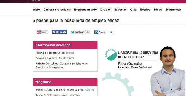Curso online y gratuito: 6 pasos para la búsqueda de empleo eficaz