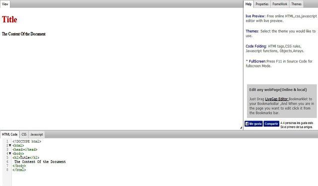 LiveGap Editor, práctico editor HTML en línea con vista previa