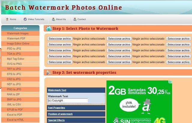 Watermark Images: web para insertar marcas de agua y convertir imágenes
