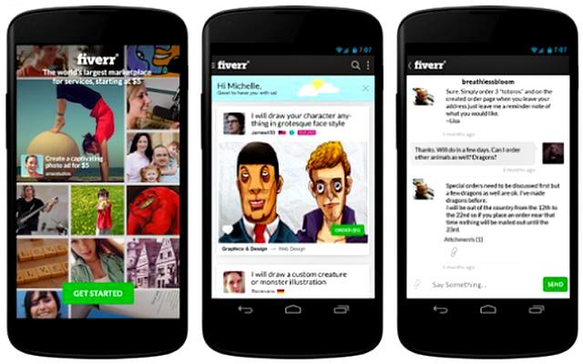 Fiverr, la comunidad de micropagos a 5 dolares ya tiene app para Android