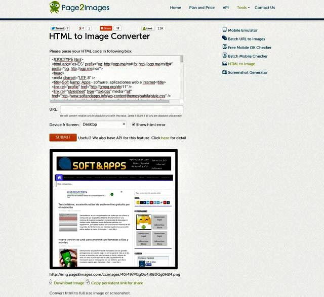 Page2Images, utilidad web para convertir código HTML en PDF o imagen