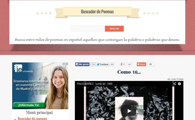 Buscapoemas, buscador de poetas y poesías con miles de obras indexadas