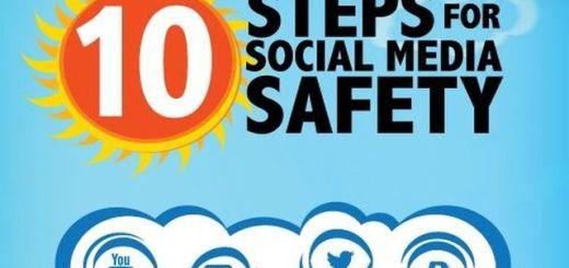 Infografía con 10 pasos a seguir para estar seguros en las redes sociales