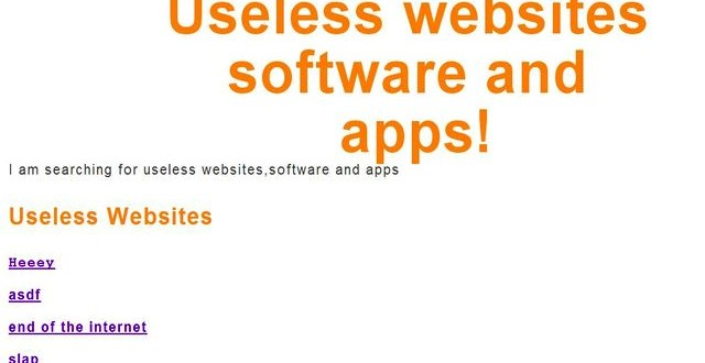 Useless websites: listado de sitios, software y aplicaciones inútiles