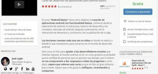 Curso gratis de desarrollo de aplicaciones para Android básico