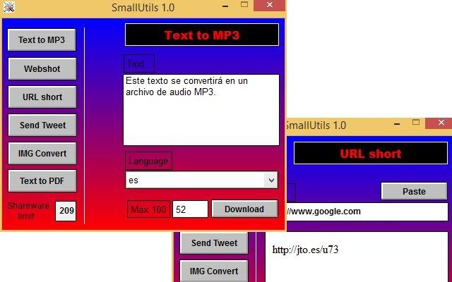SmallUtils: convierte texto a Mp3 o PDF, acorta URLs, toma webshots y más