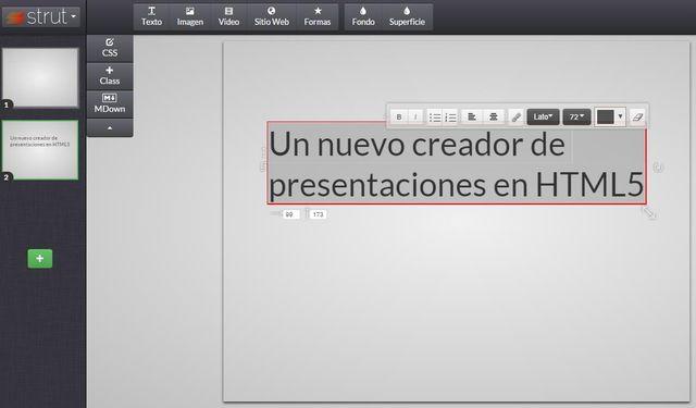 Strut: crea gratis presentaciones en HTML5