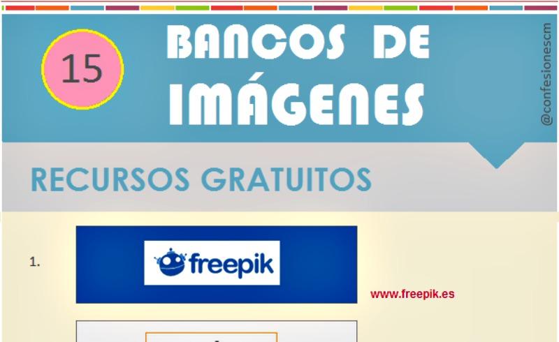 Quince bancos de imágenes libres en una infografía