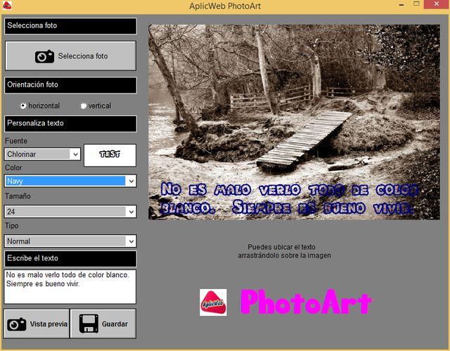 AplicWeb PhotoArt: software para poner bellos textos en las fotos