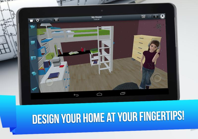 Home design 3d dise o de interiores en 3d desde tu android for Diseno de interiores app