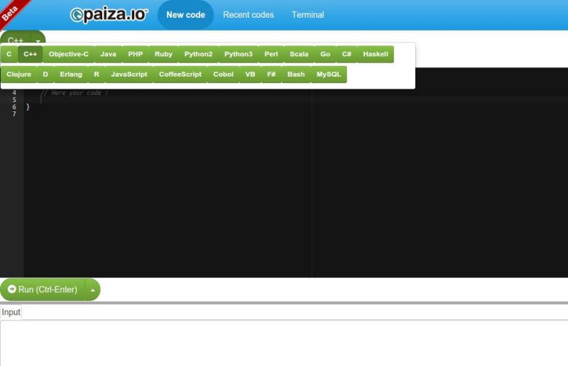 Paiza: editor de código online con soporte multilenguaje