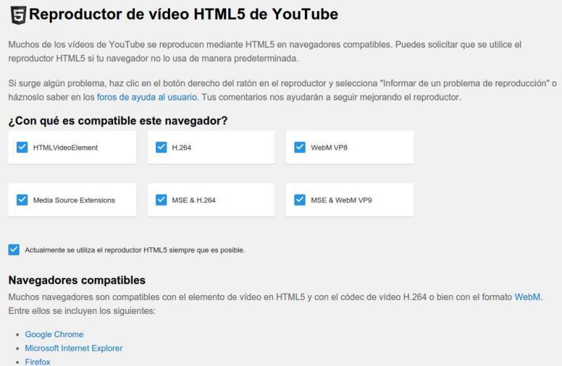 Cómo ver cualquier vídeo de YouTube en HTML5