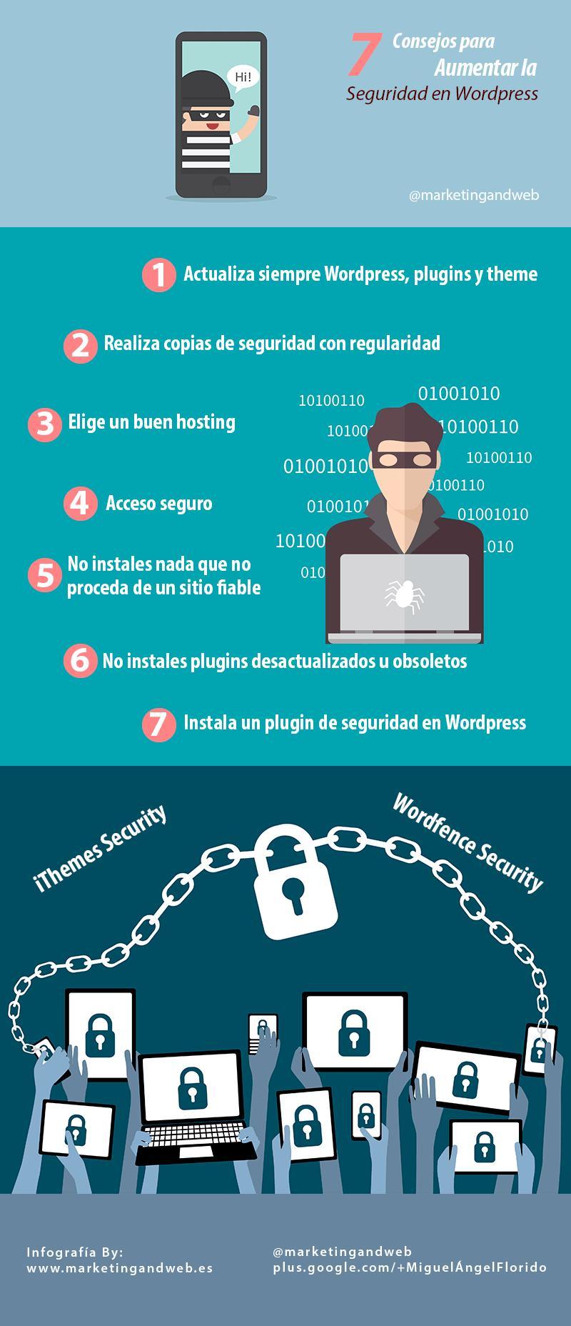Siete útiles consejos para aumentar la seguridad de WordPress (infografía)
