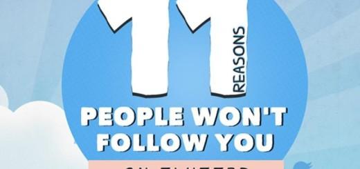 Descubre 11 razones por las que no te siguen en Twitter (infografía)