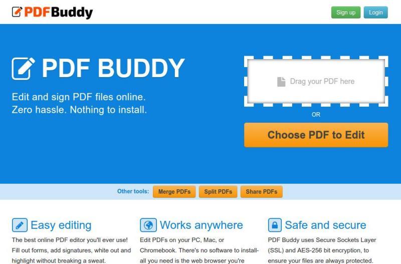 PDF Buddy: edita tus documentos PDF en línea y gratis