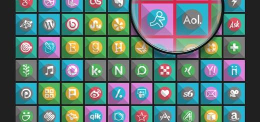130 iconos sociales 2015 con sombra alargada y bellos colores