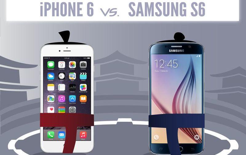 Infografía comparativa: iPhone 6 vs. Samsung S6