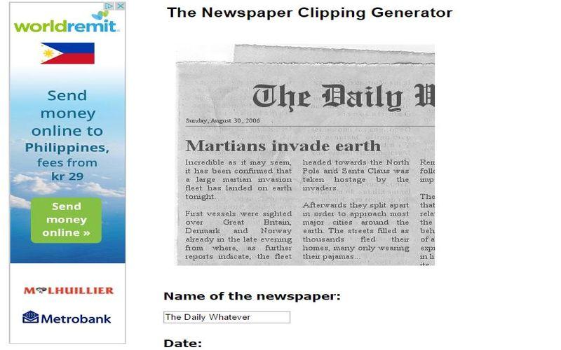 Crea una imagen de noticia falsa Crea imagen con noticia falsa en diario para bromear