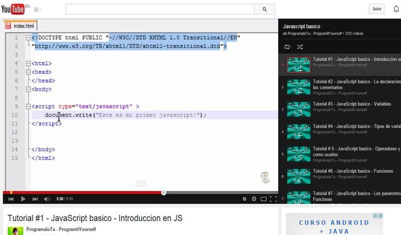 Tutorial de JavaScript básico en 32 vídeos