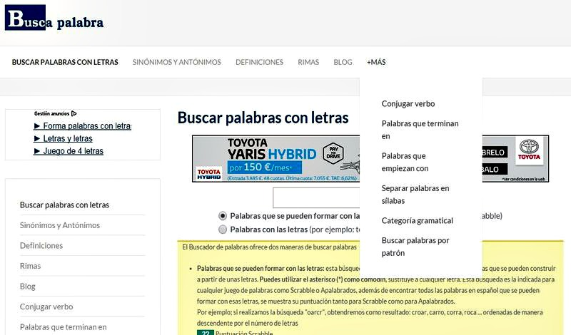 Buscapalabra: sitio con todos los recursos que necesitas de la Lengua Española