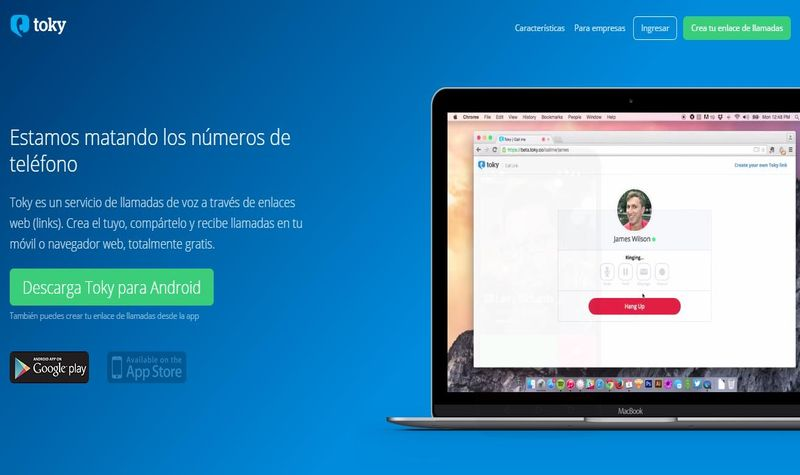 Toky: llamadas de voz gratis, desde links, a tu navegador o móvil