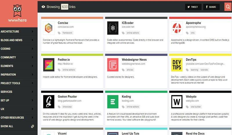 Wwwhere: un directorio con más de 630 herramientas para los desarrolladores web