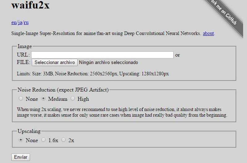 waifu2x: aplicación web para aumentar imágenes sin perder calidad