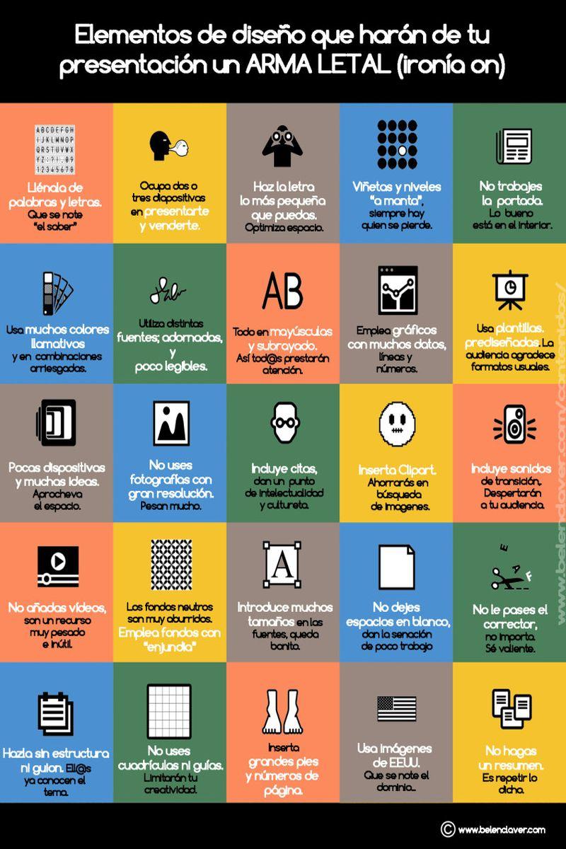 25 errores que puedes cometer para destrozar una presentación (infografía)